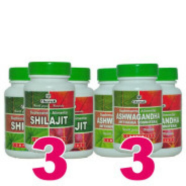 Pack 3 Ashwagandha+3 Shilajit CHARAK PHARMA